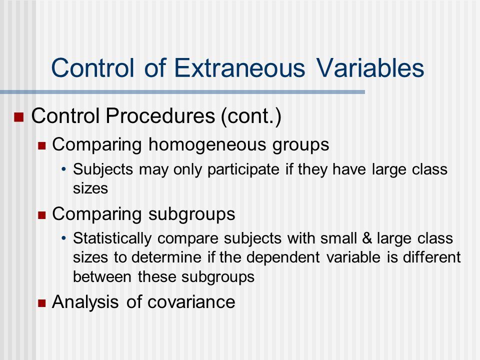 Control of Extraneous Variables