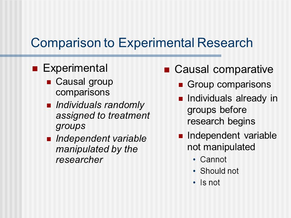Comparison to Experimental Research