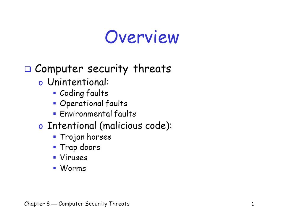 an overview of computer viruses Malware: malicious software 10/21/2010 malware 1 viruses, worms • a computer virus is computer code that can replicate itself by modifying other files or.