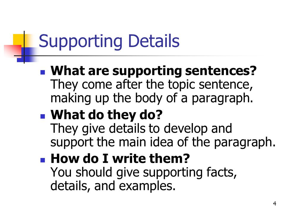 Supporting Details What are supporting sentences They come after the topic sentence, making up the body of a paragraph.