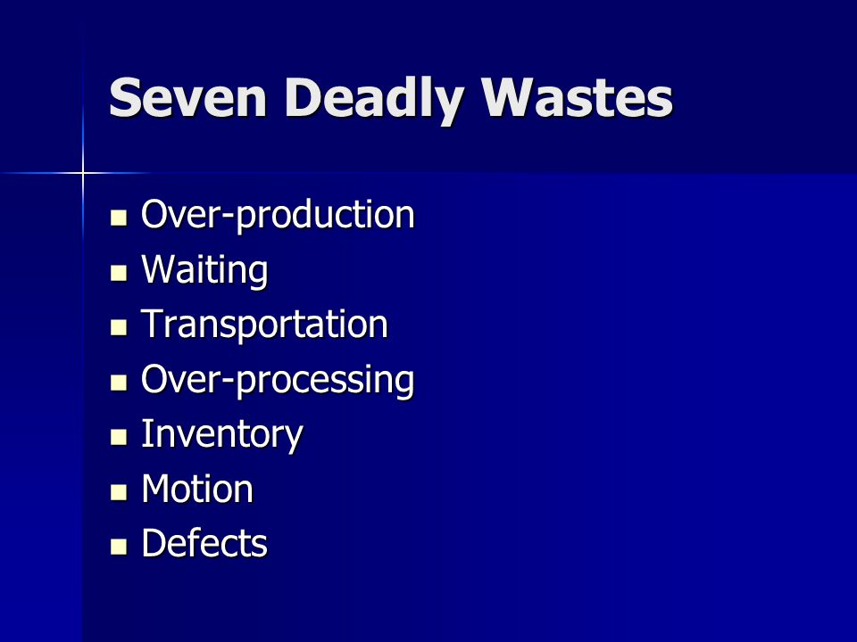 Seven Deadly Wastes Over-production Waiting Transportation