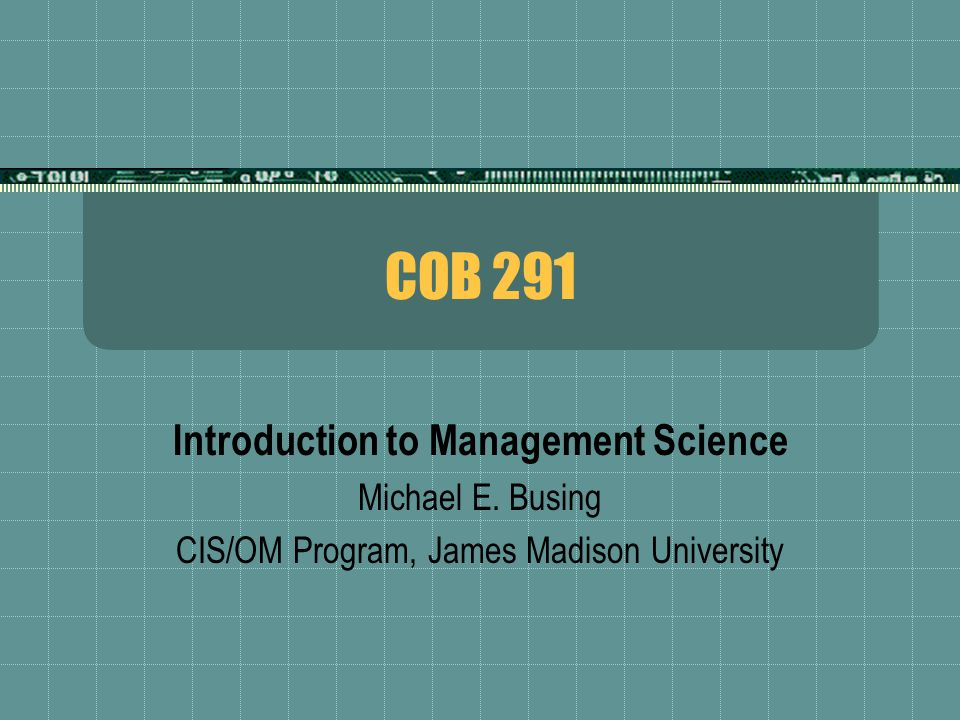 introduction to management science Introduction to management science by bernard w taylor, iii starting at $099 introduction to management science has 14 available editions to buy at alibris.