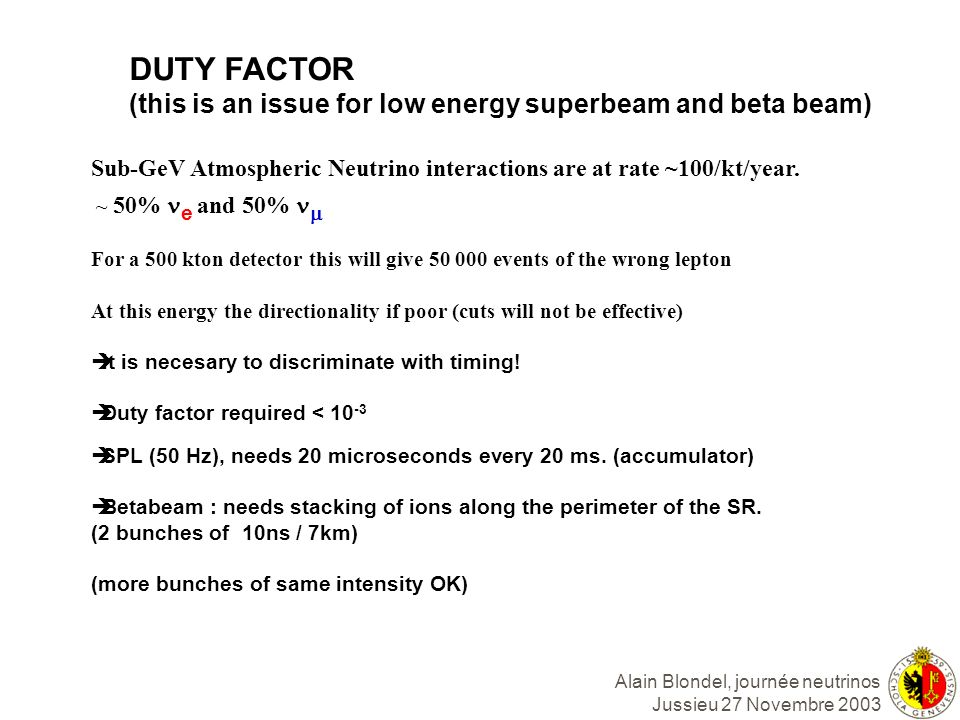 DUTY FACTOR (this is an issue for low energy superbeam and beta beam)