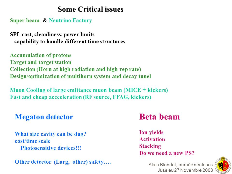 Beta beam Some Critical issues Megaton detector