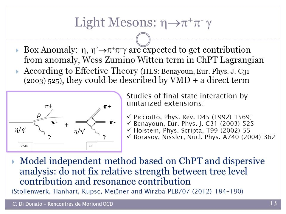 Light Mesons: +-  Box Anomaly: are expected to get contribution from anomaly, Wess Zumino Witten term in ChPT Lagrangian.