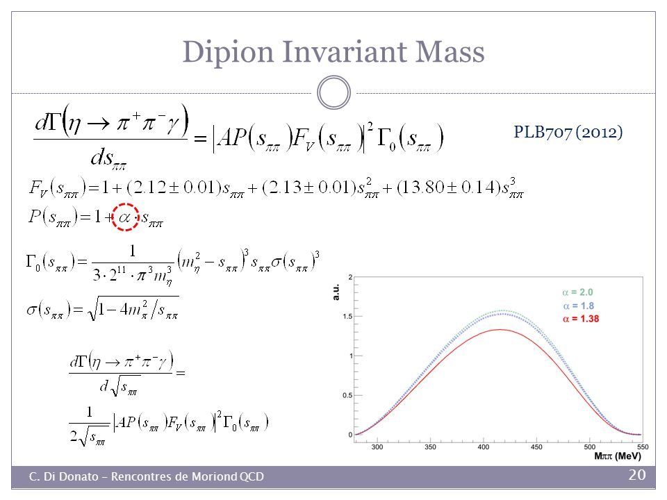 Dipion Invariant Mass PLB707 (2012)