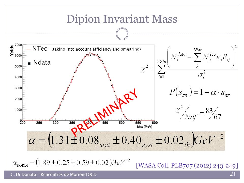 PRELIMINARY Dipion Invariant Mass