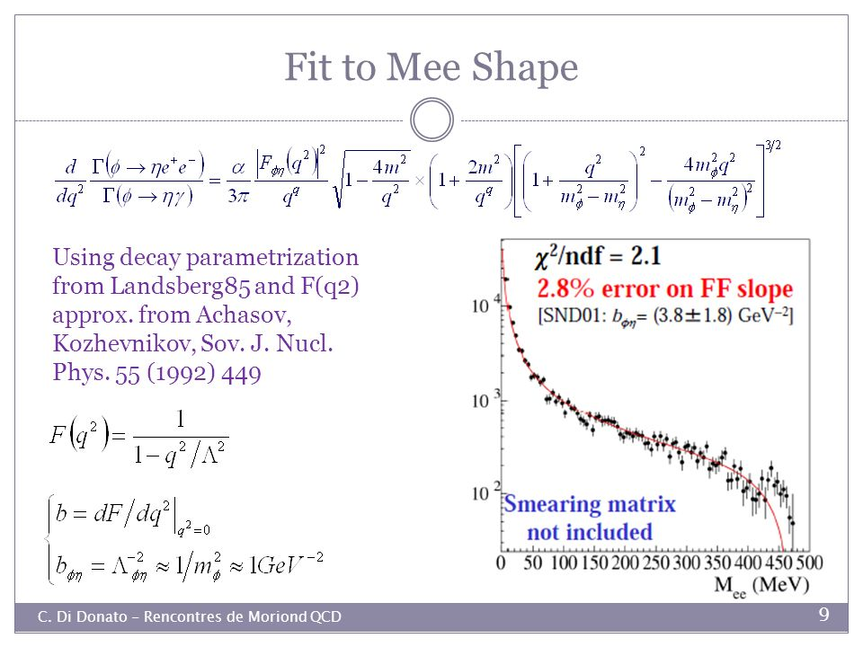 Fit to Mee Shape Using decay parametrization