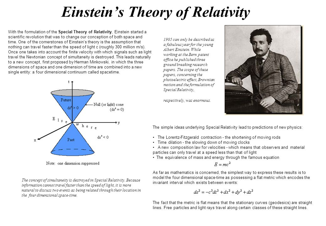 a literary analysis of special theory of relativity by einstein Einstein saw a parallel between the relative nature of motion in his theory of special relativity and the relative nature of gravity, and so he worked to generalize relativity to include both gravity and motion.
