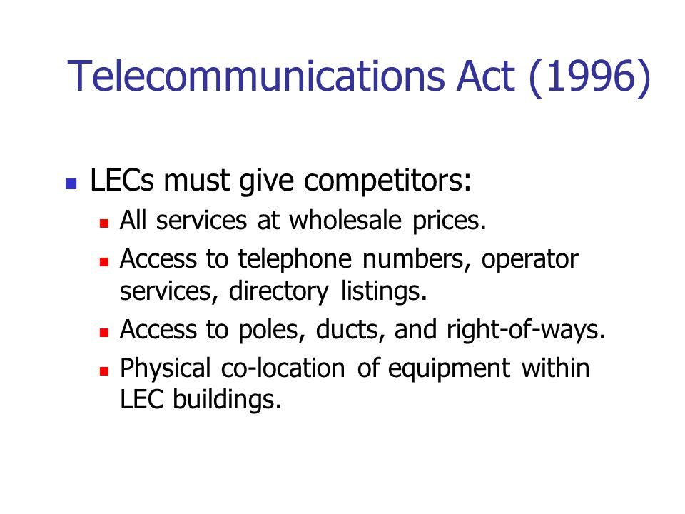 open video system and the telecommunications act of 1996 Stuart brotman evaluates the success of the 1996 telecommunications act on was the 1996 telecommunications act successful in competition and open.