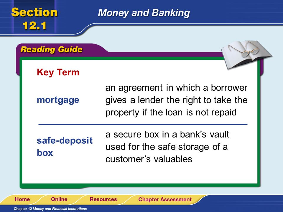 Key Term an agreement in which a borrower gives a lender the right to take the property if the loan is not repaid.