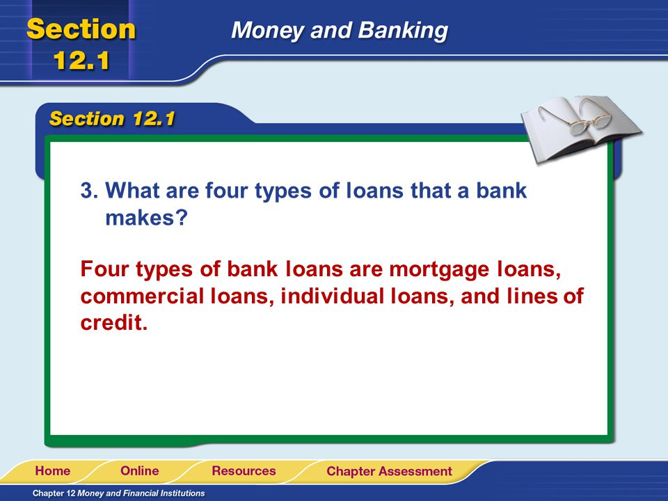 What are four types of loans that a bank makes