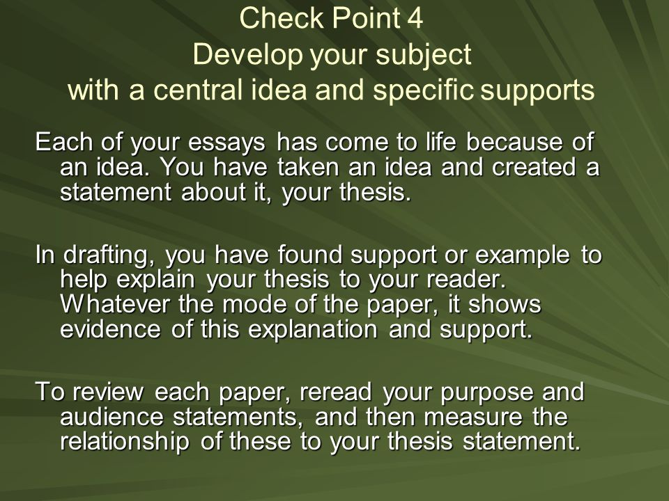 check thesis statement Check to see if you need to define your terms the thesis statement should do more than merely announce the topic.