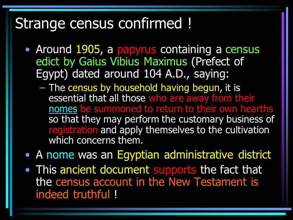 Strange census confirmed !