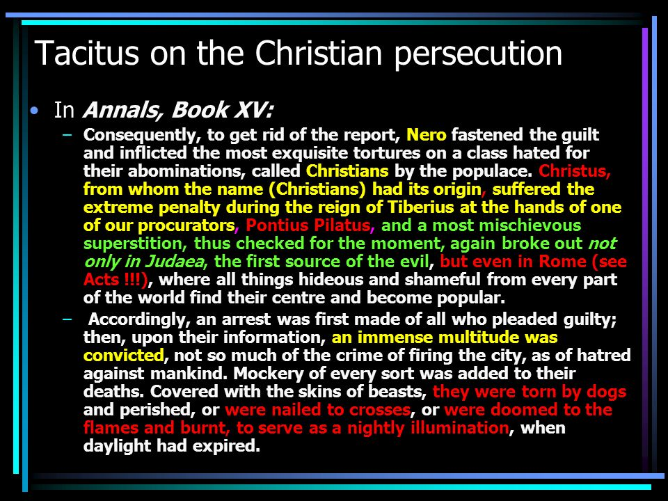 Tacitus on the Christian persecution