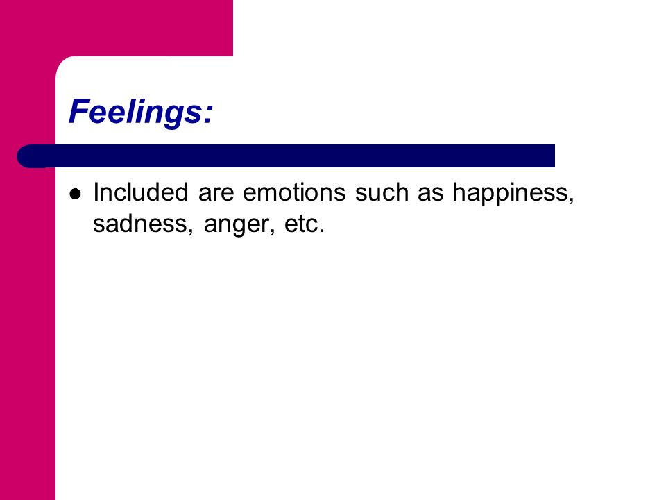 Feelings: Included are emotions such as happiness, sadness, anger, etc.