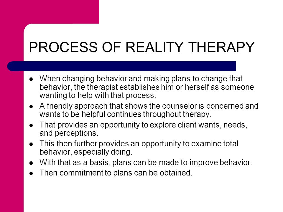 PROCESS OF REALITY THERAPY