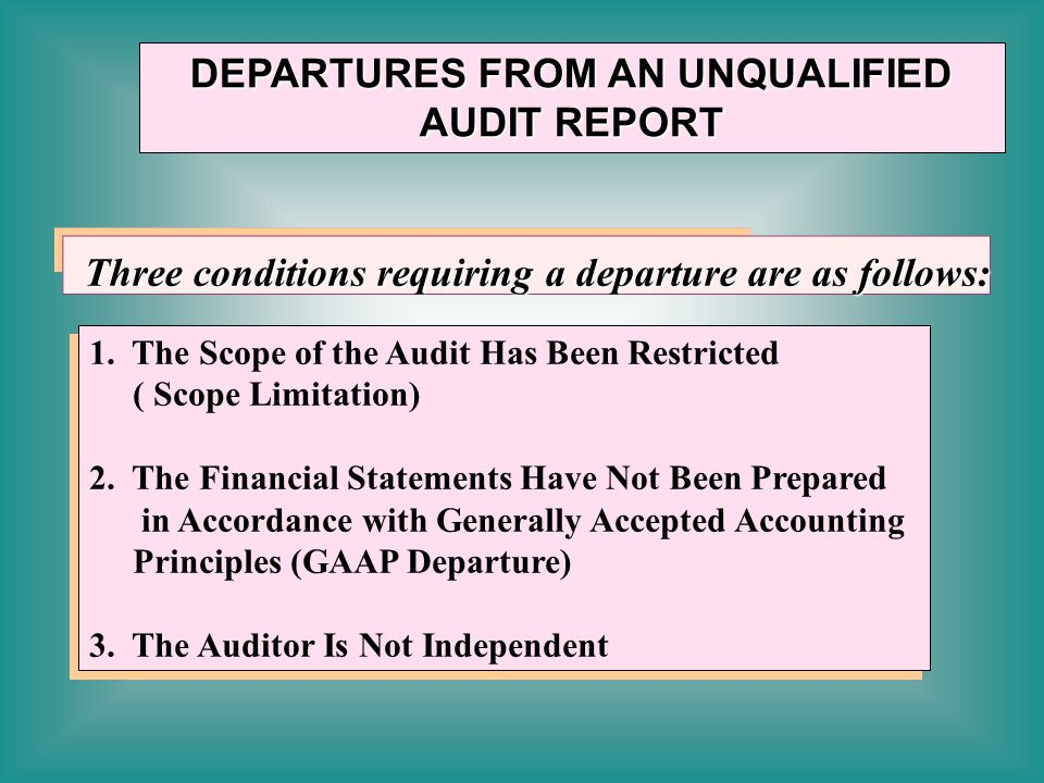 DEPARTURES FROM AN UNQUALIFIED AUDIT REPORT