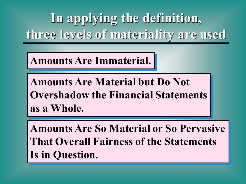 a description of the importance of materiality in financial statements Start studying audit-chapter 7  the amount set by the auditor at less than the materiality level for the financial statements as a whole or for particular classes .