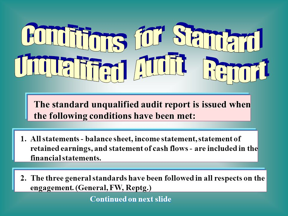 The standard unqualified audit report is issued when