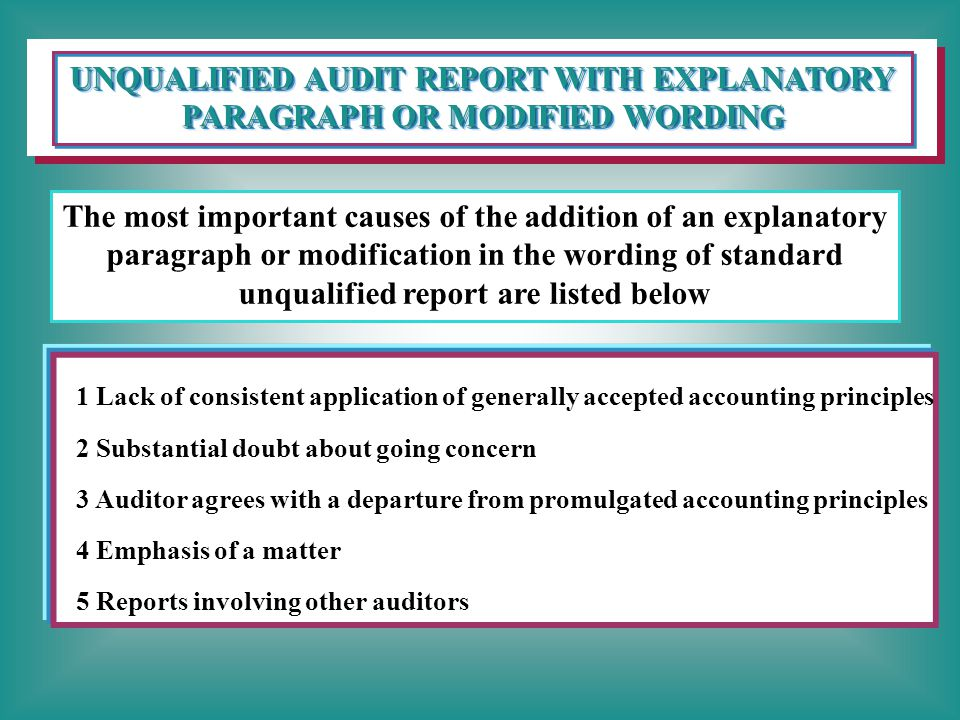 UNQUALIFIED AUDIT REPORT WITH EXPLANATORY