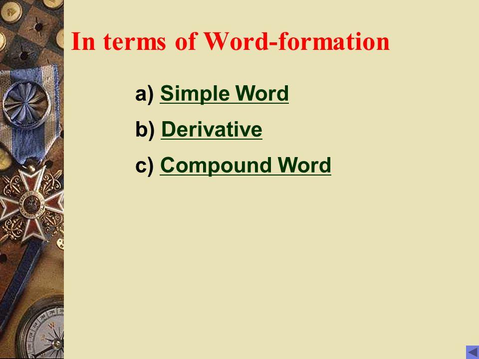 In terms of Word-formation