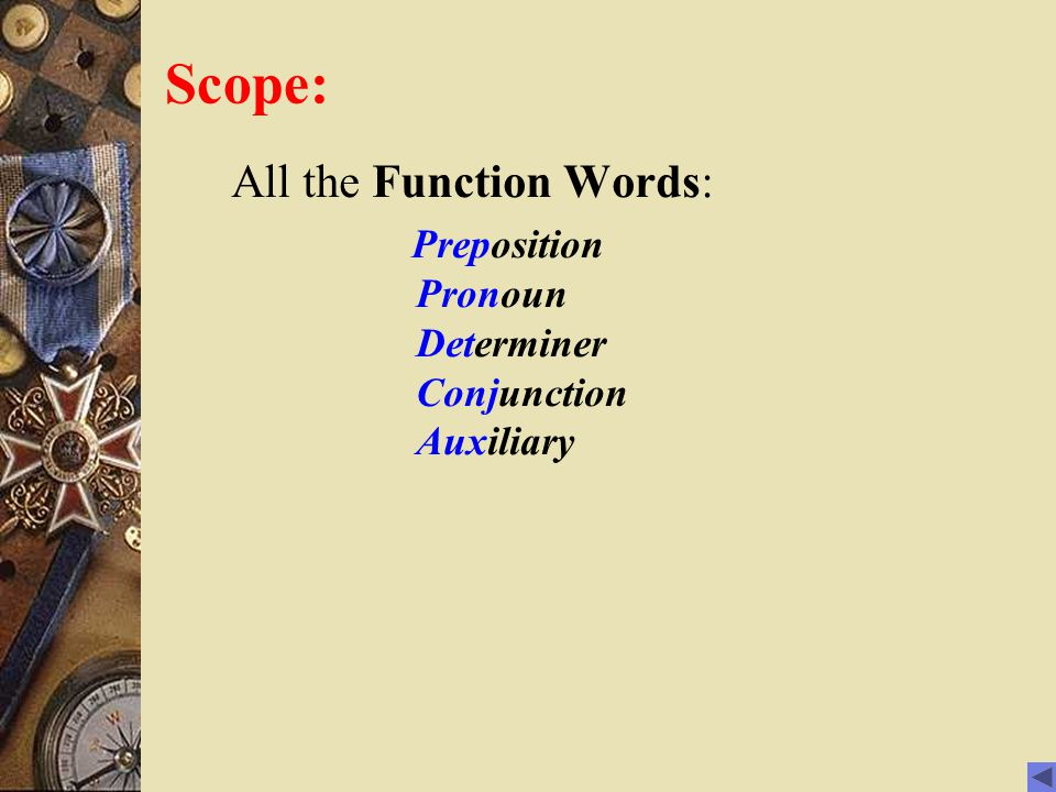 Scope: All the Function Words: