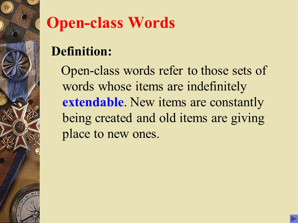 Open-class Words Definition: