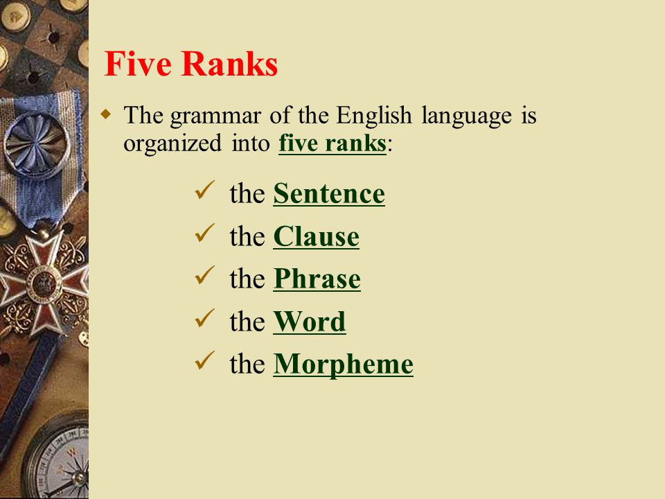 Five Ranks the Sentence the Clause the Phrase the Word the Morpheme