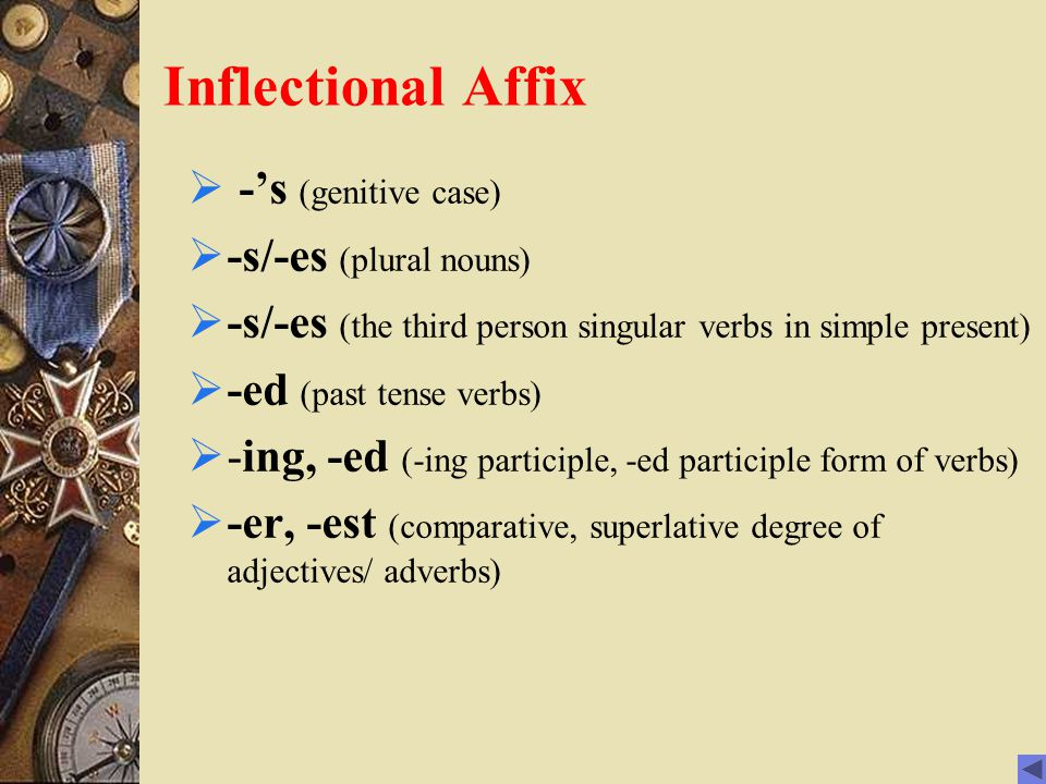 inflection and est er Although it already borders truism that the english is not a highly inflected  language in comparison to latin,  er, comparative, fast-er - est, superlative, fast -est.
