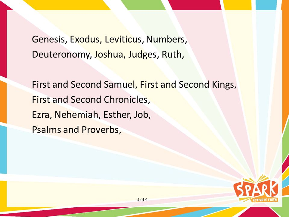 Genesis, Exodus, Leviticus, Numbers, Deuteronomy, Joshua, Judges, Ruth, First and Second Samuel, First and Second Kings, First and Second Chronicles, Ezra, Nehemiah, Esther, Job, Psalms and Proverbs,