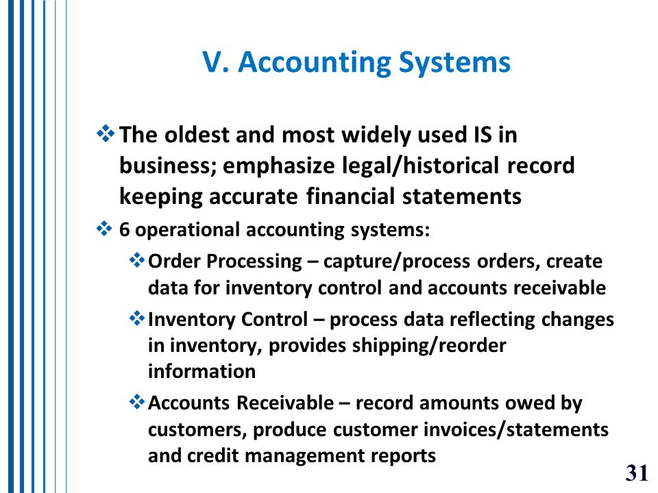 V. Accounting Systems The oldest and most widely used IS in business; emphasize legal/historical record keeping accurate financial statements.