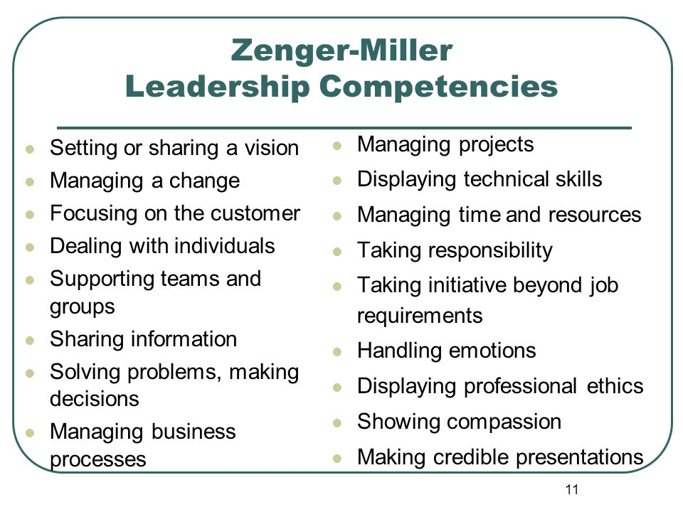 Zenger-Miller Leadership Competencies