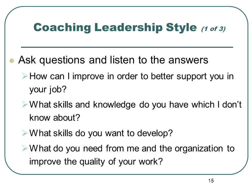 Coaching Leadership Style (1 of 3)