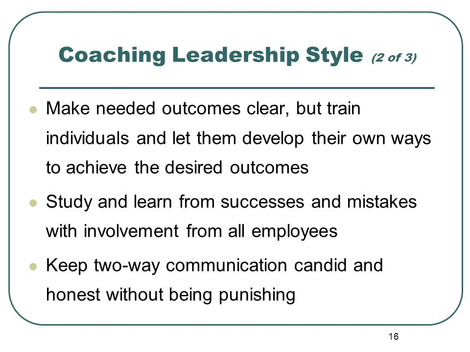 Coaching Leadership Style (2 of 3)