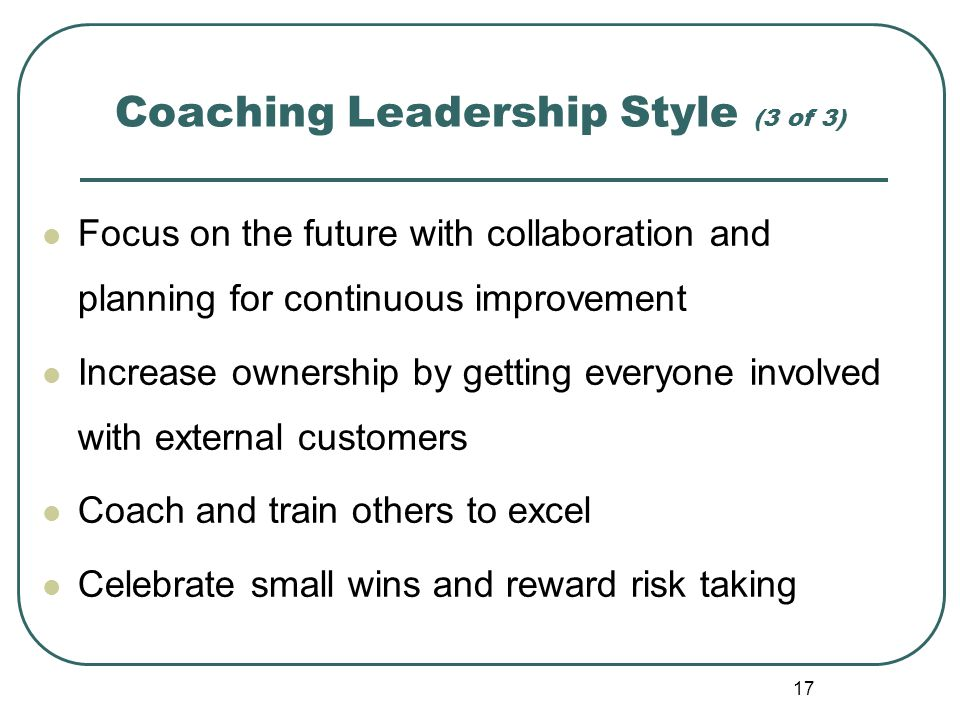 Coaching Leadership Style (3 of 3)