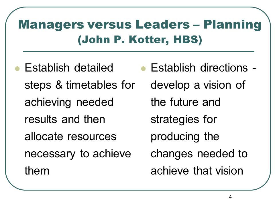 Managers versus Leaders – Planning (John P. Kotter, HBS)
