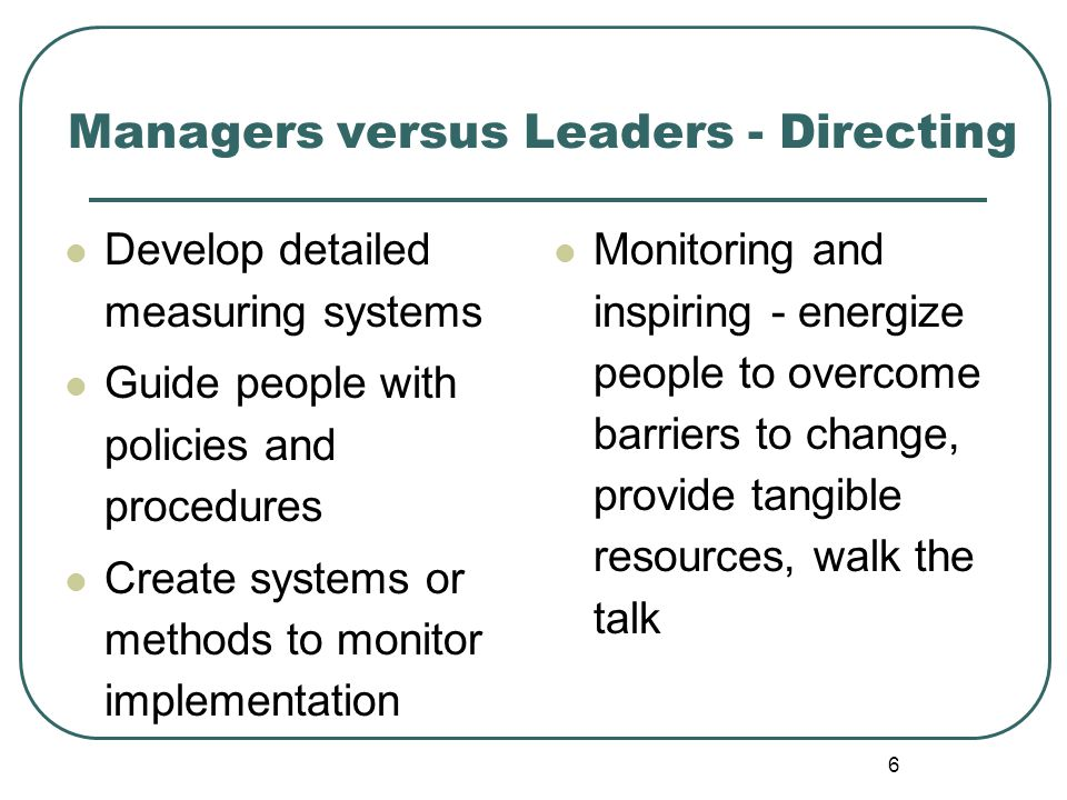 Managers versus Leaders - Directing