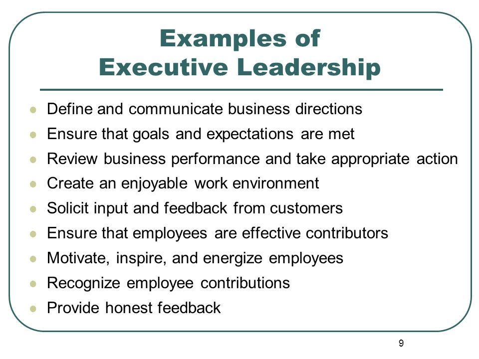 Examples of Executive Leadership