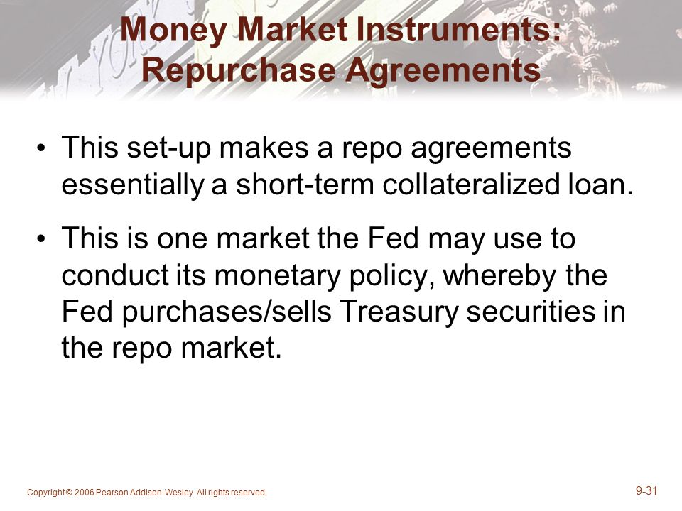 Money Market Instruments: Repurchase Agreements