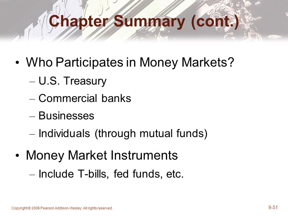 money market conclusion One of the greatest factors in recent years in the movement of deposits was the tremendous growth of money market funds whose higher interest rates attracted.
