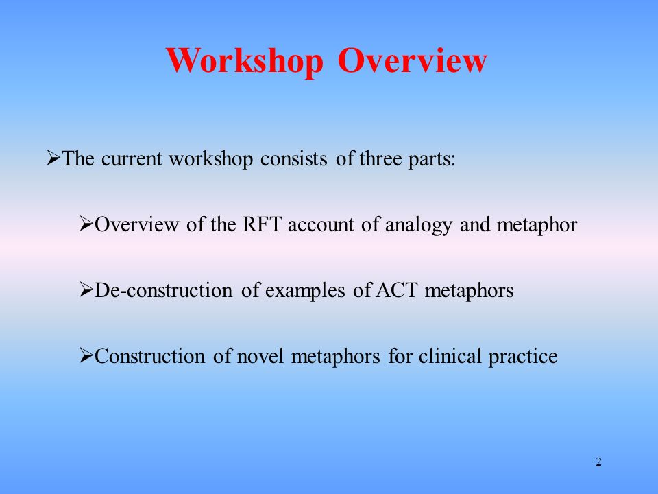 Workshop Overview The current workshop consists of three parts: