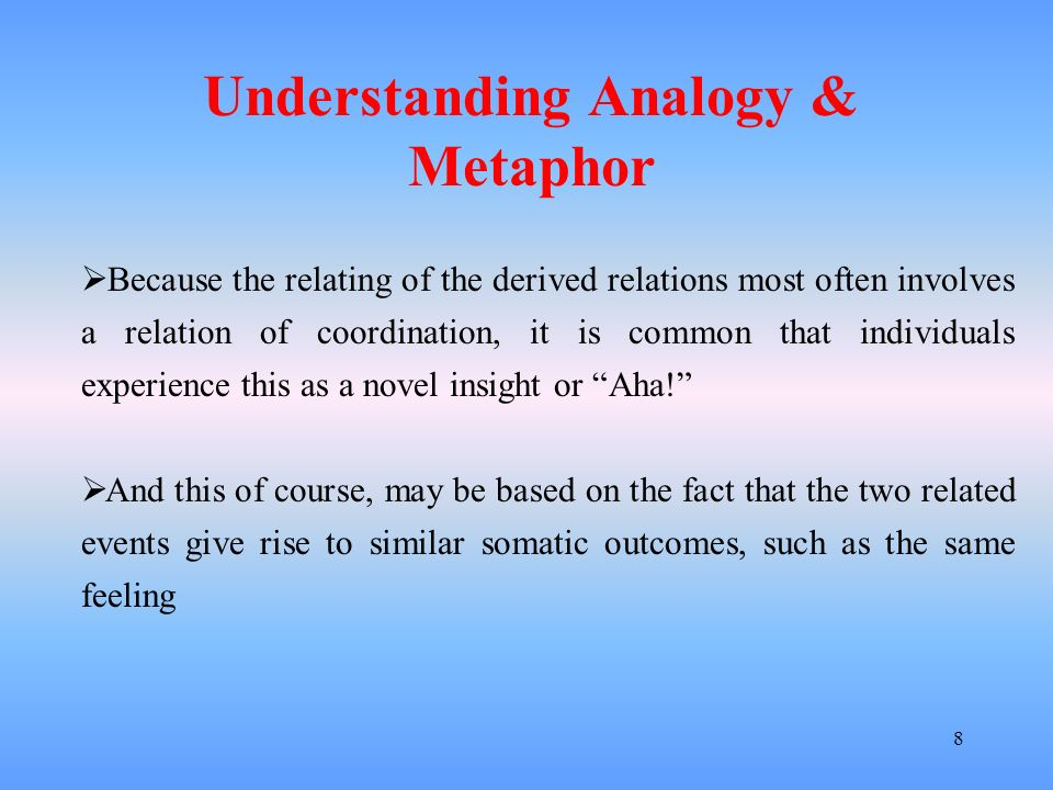 Understanding Analogy & Metaphor
