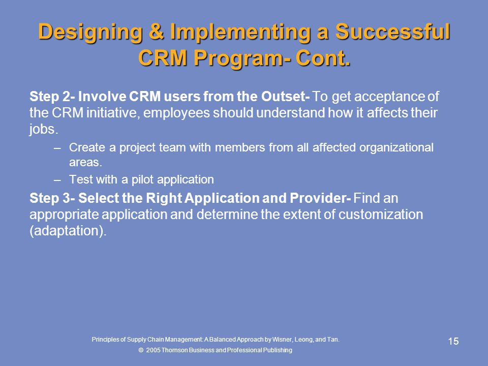 Designing & Implementing a Successful CRM Program- Cont.
