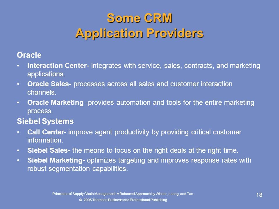 Some CRM Application Providers