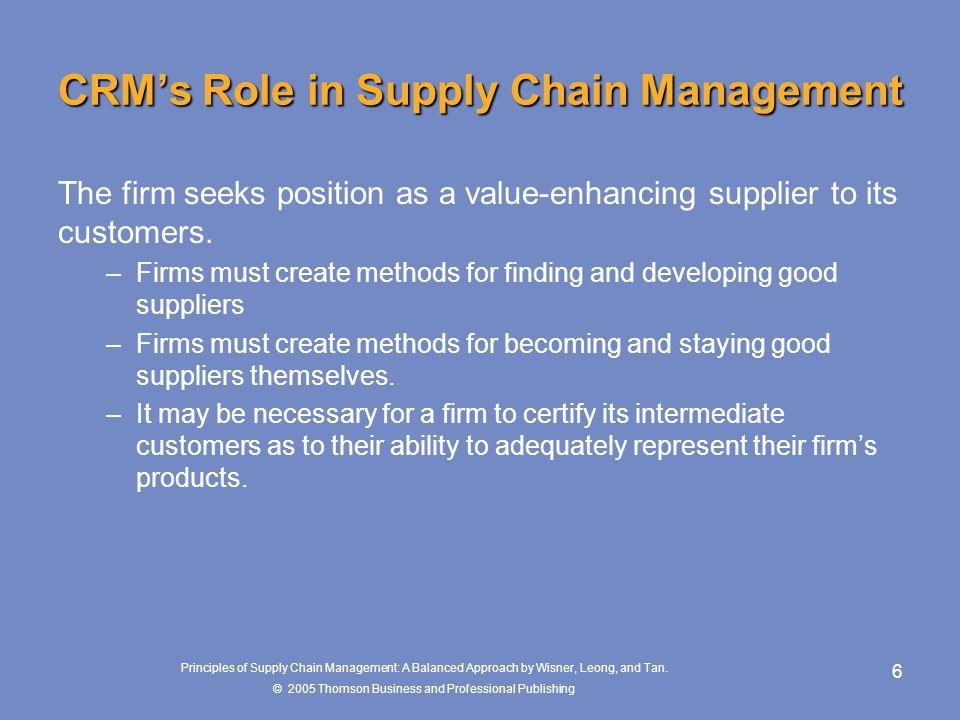 CRM's Role in Supply Chain Management
