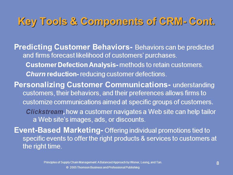 Key Tools & Components of CRM- Cont.