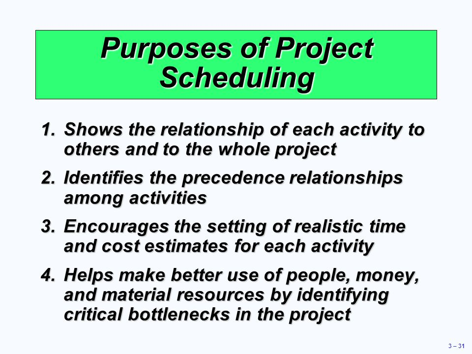 Purposes of Project Scheduling