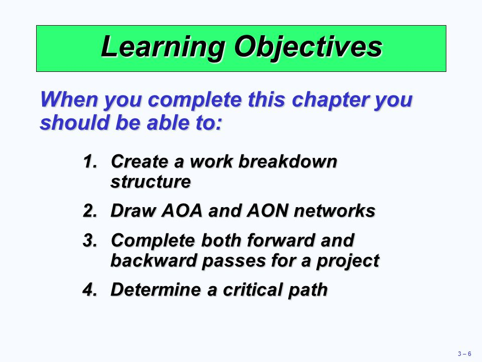 Learning Objectives When you complete this chapter you should be able to: Create a work breakdown structure.