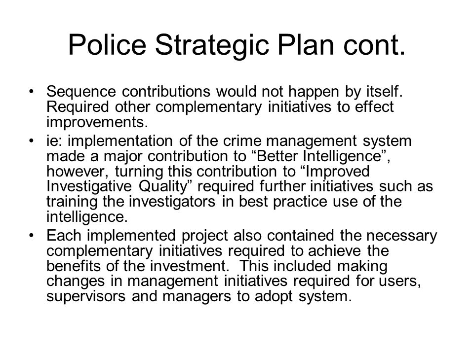 Police Strategic Plan cont.